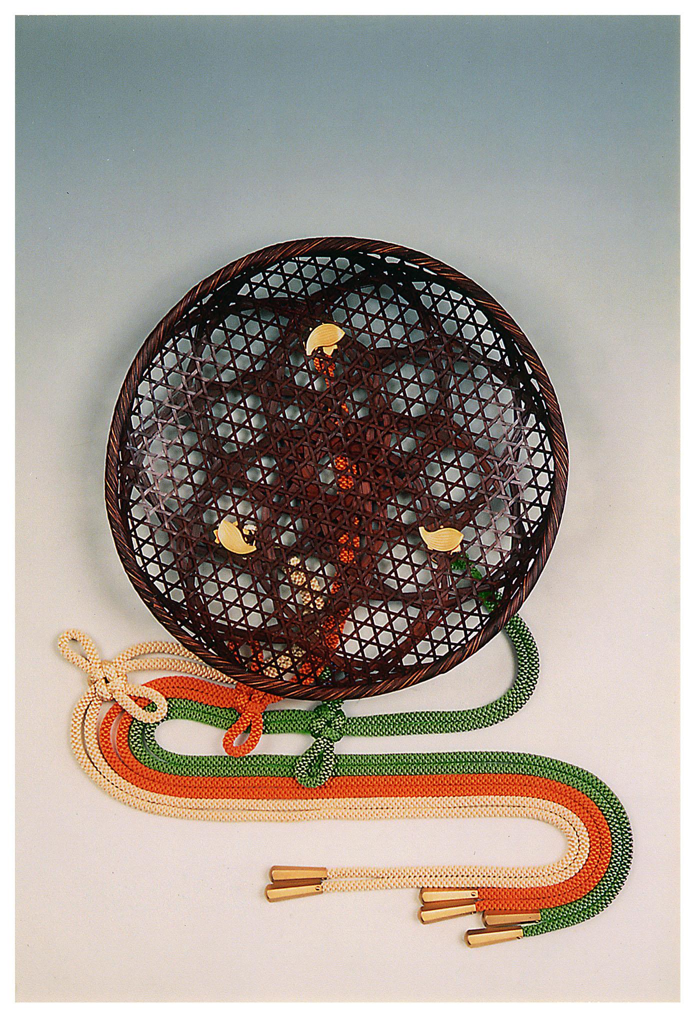 竹製本漆引 華籠