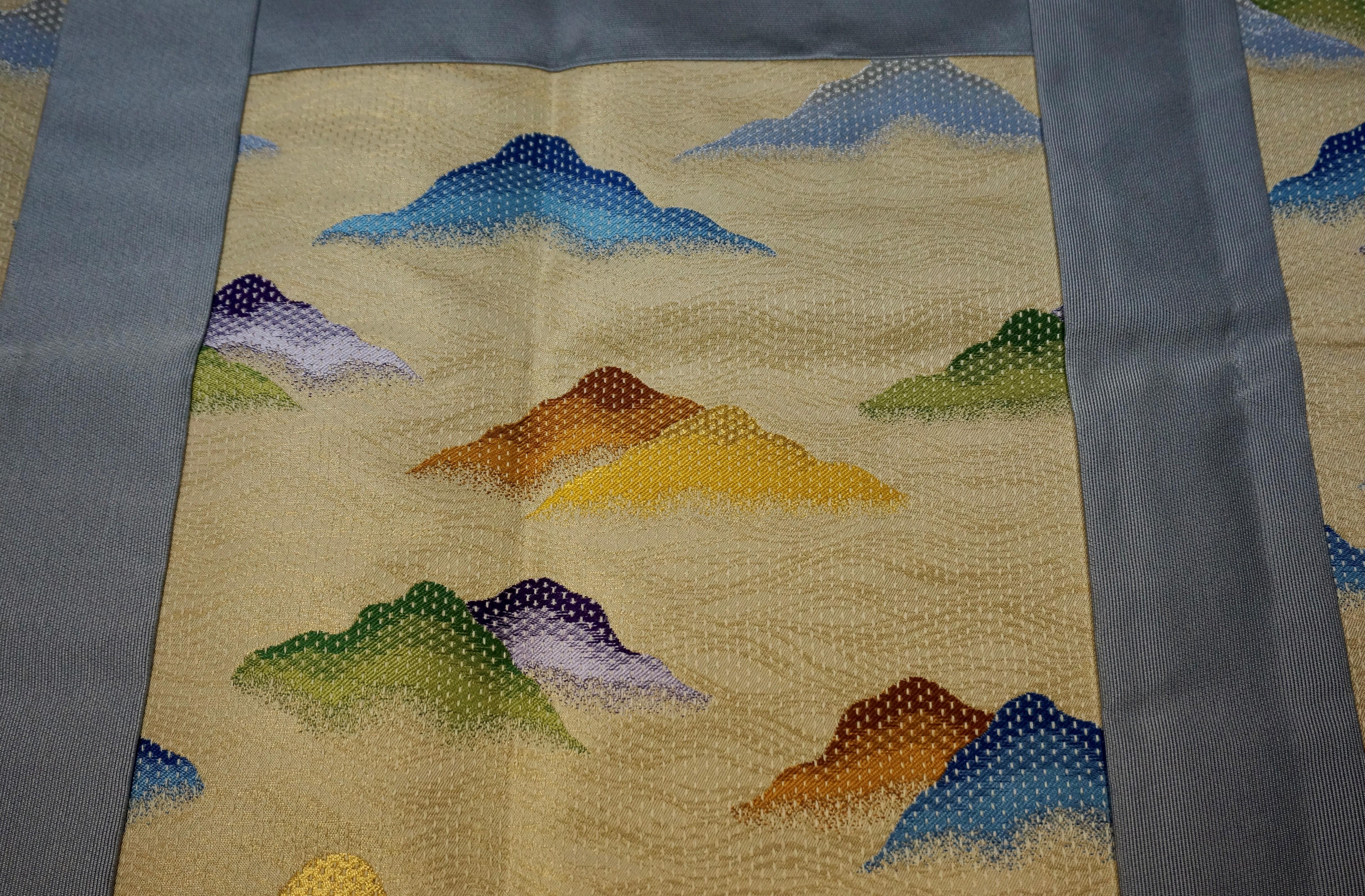 流雲繧繝彩色刺子遠山 五条代